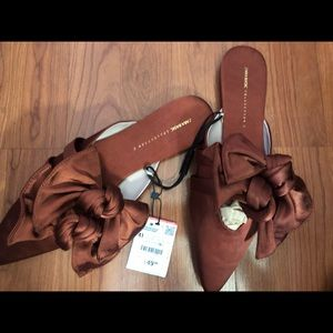 Zara Basic Collection NWT Double Bow Mules